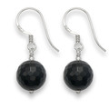 Sterling Silver Faceted  Onyx & silver 10mm ball drop