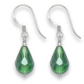 Sterling Silver Faceted Green Crystal Peardrop earrings with silver beads.Size: 8 x 14mm 7050GRN