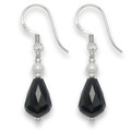 Sterling Silver Faceted Onyx Peardrop earrings with Freshwater Pearl & silver beads. Size: 20 x 8mm excluding earwires 7051ON