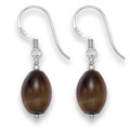 Sterling Silver Barrel shape Tigers Eye drop with Silver beads. Barrel size: 13mm x 9mm 7009TE
