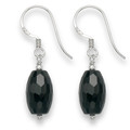 Sterling Silver Faceted Onyx Barrel shape drop with Silver beads.Barrel size: 14mm x 8mm7009ON