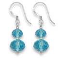 Sterling Silver, Two Turquoise colour Crystal beads & Silver beads earring. Size 17mm x 10mm excluding wires 7046TQ