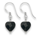 Sterling Silver Faceted Onyx Heart drop earrings 12mm x 9mm 7044ON