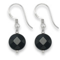 Sterling Silver Onyx disc & Silver beads drop Earrings. Disc size: 10mm 7054ON