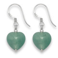 Sterling Silver Green Agate Heart & Silver beads drop earrings. Size: 12mm 7045GRN