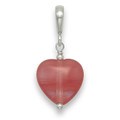 Sterling Silver Cherry Quartz & Silver beads Heart Drop Pendant. Heart size 12mm 8253CQ Further Reduction to Clear