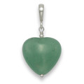 Sterling Silver Green Adventurine & Silver Beads heart Pendant.Heart size: 16mm 8289GRN