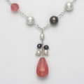 "Sterling Silver Cherry quartz & Freshwater Pearls necklace adjustable length 17"" - 19"" 4467NL"