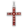 Sterling Silver CZ Cross pendant set with Red 11 Stones Last One