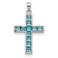 Sterling Silver Cubic Zirconia Cross pendant set with 11 Turquoise colour stones  8245LB
