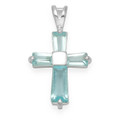 Sterling Silver 4 stone blue Cubic Zirconia cross pendant 8240LB