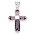 Sterling Silver Purple Cubic Zirconia 4 stones Cross pendant  22mm x 14mm   PRICED TO CLEAR 8240PP