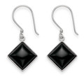 Sterling Silver Onyx diamond shape drop earring with Silver surround - Size: 11mm x 11mm 7373ON