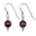 Sterling Silver Purple cat's eye ball with silver balls drop earrings 6.5mm 7008PP   LAST PAIR