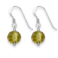 Sterling Silver olive green Crystal 8mm ball drop earring 7265GRN