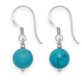 Sterling Silver Turquoise & Silver beads 8mm Ball drop Earrings 7005TQ