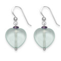 Silver with pale Green obsidian heart & Amethyst chip drop earrings. Heart size: 15mm 7032