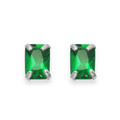 Sterling Silver Emerald Crystal small rectangular stud.Size: 4mm x 6mm 5751EM
