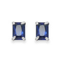 Sterling Silver Saphire Crystal small rectangular stud. Size: 4mm x 6m 5751DB