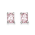 Sterling Silver Pink Cubic Zirconia small rectangular stud.Size: 4mm x 6m 5751PCZ