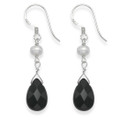 Sterling Silver Teardrop Onyx and Freshwater Pearl Drop earrings 17mm x 8mm 7057