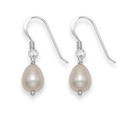 Sterling Silver Simple Peach pink ovoid Freshwater pearl drops - SIZE: 6mm x 8mm 7016PK