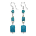 Sterling Silver Reconstituted Turquoise and Freshwater Pearl Drop earrings - SIZE: 45mm x 9mm 4250/3