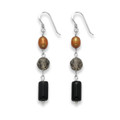 Sterling Silver Onyx, Smokey Quartz & bronze Freshwater Pearl drop - SIZE: 40mm x 7mm 4120/3  Better Than Half Price to Clear
