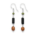 Sterling Silver Onyx, Green & bronze Freshwater Pearl drop - SIZE: 35mm x 4mm 4120/1  Better Than Half Price To Clear