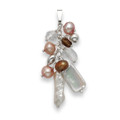 Sterling Silver Pink, white & and bronze Freshwater Pear and Crystal Pendant - SIZE: 40mm x 15mm 4460P