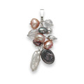 Sterling Silver Pink, white & grey Freshwater Pearl and Crystal Pendant - SIZE: 40mm x 15mm  4365P