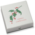 "Silver cardboard Large Pendant/Earrings box 60mm x 60mm x 18mm - ""Merry Christmas"" on holly design B42HOL"