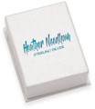 "Good quality Silver cardboard Earrings/small pendant box 40mm x 60mm x 18mm - printed ""Heather Needham Silver"" B43HN"