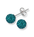 Sterling Silver, Crystal ball stud 6mm, many tiny crystals - Teal - Deep greeny Turquoise 4600TEAL
