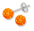 Sterling Silver, Crystal ball stud 6mm, many tiny crystals - Orange 4600OR