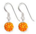 Sterling Silver Orange disco ball drop 8mm - many tiny crystals 4700 OR