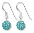 Sterling Silver light Turquoise disco ball drop 8mm - many tiny crystals 4700LT  LAST PAIR