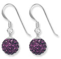 Sterling Silver Plum purple disco ball drop 8mm - many tiny crystals   CLEARANCE LINE 4700PLUM