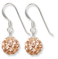 Sterling Silver pale Peach pink disco ball drop 8mm - many tiny crystals 4700PC