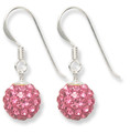 Sterling Silver Pink disco ball drop 8mm - many tiny crystals 4700PK