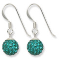 Sterling Silver Rich Teal colour disco ball drop 8mm - many tiny crystals 4700TEAL