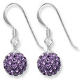 Sterling Silver Amethyst colour disco ball drop 8mm - many tiny crystals 4700AME