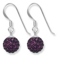 Sterling Silver Deep Purple disco ball drop 8mm - many tiny crystals 4700PP