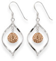 Sterling Silver Open twist drop with 8mm disco ball - Peach pink colour - size: 27mm x 16mm 4707PC  LAST PAIR