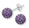 Sterling Silver, LARGE Crystal ball stud 12mm, many tiny crystals - Purple  LAST PAIR CLEARANCE PRICE 4606PP