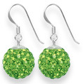 LAST FEW NOW CHEAPER THAN HALF PRICESterling Silver LARGE  bright Peridot Green disco ball drop 12mm - many tiny crystals 4702GRN