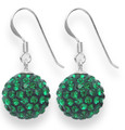LAST FEW NOW CHEAPER THAN HALF PRICE Sterling Silver LARGE Emerald Green disco ball drop 12mm - many tiny crystals 4702EM