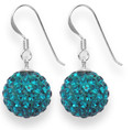LAST FEW NOW CHEAPER THAN HALF PRICE Sterling Silver LARGE rich Turquoise disco ball drop 12mm - many tiny crystals 4702TQ