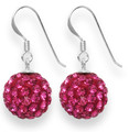 LAST FEW NOW CHEAPER THAN HALF PRICE Sterling Silver LARGE Magenta disco ball drop 12mm - many tiny crystals 4702MAG