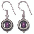 Sterling Silver Hematite and Purple freshwater pearl drop Earring 7026PP Size approx 11.5mm (22mm incl wire)